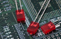 Red LED on green PCB Royalty Free Stock Photo