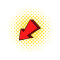 Red left down arrow icon, comics style Royalty Free Stock Photo