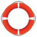 Red life buoy isolated on white background Stock Photos