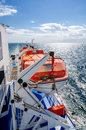 Red lifeboats cruise ship Royalty Free Stock Images