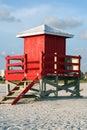 Red Lifeguard Shack Royalty Free Stock Photo