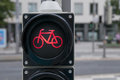 Red light for bicycle lane on traffic Royalty Free Stock Photos