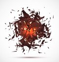 Red light explosion of black particles on white Royalty Free Stock Photo