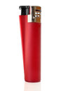 Red lighter on a white background Stock Images