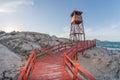 Red lighthouse footbridge Cabo Pulmo Baja California national park panorama Royalty Free Stock Photo