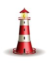Red lighthouse isolated on white background. Royalty Free Stock Photo
