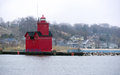 The Red Lighthouse Lake Macatawa Holland Michigan Great lakes Royalty Free Stock Photo