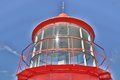 Red lighthouse seen majestic on clear sky Stock Image