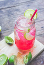 Red Lime Soda Soda beverage A mixture of Red nectar, salt, lemon Royalty Free Stock Photo