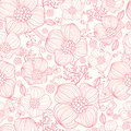 Red line art flowers seamless pattern background vector elegant with hand drawn floral elements Stock Image