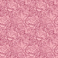 Red line art flowers seamless pattern background vector floral with hand drawn on light pink Royalty Free Stock Photo