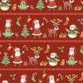 Red line holiday seamless pattern christmas background vector Royalty Free Stock Photo
