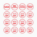 Red line retail and shopping SALE and percentage tags icons set Royalty Free Stock Photo