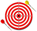 Red lined dartboard with two darts Royalty Free Stock Photos