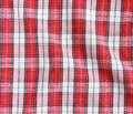 Red linen crumpled tablecloth texture of checkered picnic blanket Stock Photos