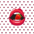 Red lips biting retro icon isolated