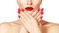 Red lips and bright manicured nails. open mouth. Beautiful manicure and makeup. Celebrate make up and clean skin Royalty Free Stock Photo