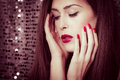 Red lips and nails Royalty Free Stock Photo