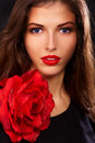 Red lips and red rose Royalty Free Stock Photo