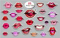 25 Red lips sticker collection. Illustration isolated on grey background. Patches set. Banner.Fashion patch badges