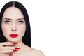 Red lips and stiletto nails portrait of young beautiful brunette with lipstick long over white background copy space Royalty Free Stock Photography