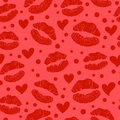 Red lipstick kiss seamless pattern