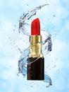 Red lipstick in water splash on blue background