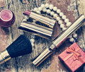 Red lipstick on a white background accessories beauty retro style vintage Royalty Free Stock Photos
