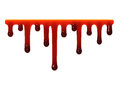 Red liquid slime dripping smudges oozing on white Royalty Free Stock Photography