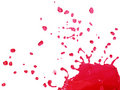 Red Liquid Splashing and Falling Stock Photo