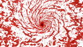 Red Liquid tornado. Beautiful colored red paint whirl. Isolated transparent vortex of liquid like whirlwind 3d animation
