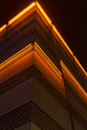 Red lit building at night Royalty Free Stock Photo