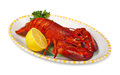 Red lobster with lemond ad parsley on white background Stock Photography
