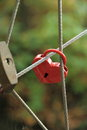 Red lock in heart shape on rope bridge close up Stock Photography