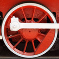 Red locomotive wheel Stock Photography
