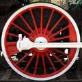 Red locomotive wheel Stock Images