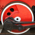 Red locomotive wheel Royalty Free Stock Images