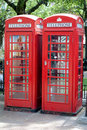 Red London Telephone Boxes Stock Photo