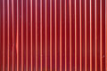 Red long goffered metal texture, corrugated steel Royalty Free Stock Photo