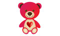 Red love bear cute cartoon animal Royalty Free Stock Photography
