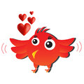 Red love bird cute cartoon animal Royalty Free Stock Photos