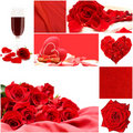 Red love collage with roses, vine glass and heart Royalty Free Stock Photo