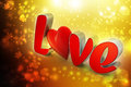 Red love heart valentines day concept in attractive color background Stock Photography