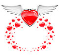 Red love heart with white wings flying Stock Photo