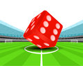 Red luck dice in the midfield of football stadium vector Royalty Free Stock Photo