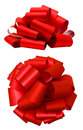 Red lush bow isolated over white, clipping path Royalty Free Stock Photo