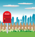 Red mailbox colorful illustration with a near a fence Stock Photography