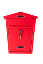 Red mailbox the with a key on a white background Royalty Free Stock Image