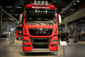 Red MAN TGX 26.560 Truck Tractor at Logistics Transport 2015 Royalty Free Stock Photo