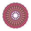 Red mandala for energy and power obtaining, circle mandala for meditation training
